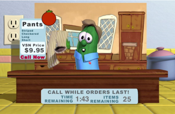 Veggie Tales Larry Selling Pants  | Pure Flix
